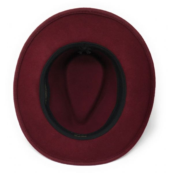 Womens Showerproof Wool Burgundy Fedora Hat with Country Feather Wrap Trim - Charingworth